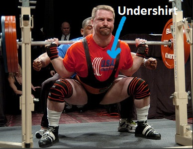 Any undershirt will do, but you'll look stronger if yours has a nice logo. Photo Credit: purepowerlifting.com