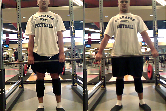 "A wide grip (left) adds two inches of RoM to the bottom AND the top of the pull. Do you pull more from a 2"" deficit or from the floor? Pull with straight arms."