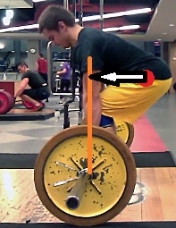 The white arrow represents the moment arm between the bar (orange line) and the hips (red dot).