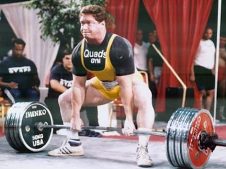 The great Ed Coan; he deadlifted 901lbs at 220lbs bodyweight.