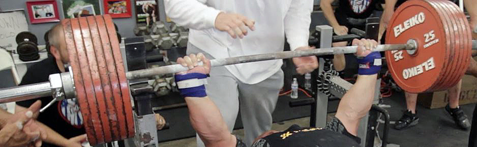 Eric Spoto uses wrist wraps to keep his wrists nice and straight for his 700lbs+ raw bench presses.