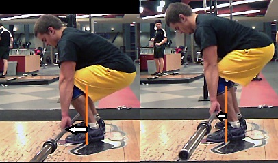 Notice that as the hips come up, the bar moves closer to mid-foot. Even the picture on the right presents hips that are a little too low (my bad).