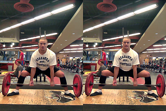 When your knees are not pushed out (left), your hips are further away from the bar and your back angle is more horizontal. Compare the position to the one on the right. Get your knees out.
