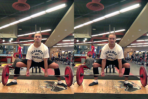 Work your way towards the full toes-to-plate sumo stance (left). Semi-sumo (right) isn't as efficient.