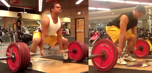 Pulling Sumo (left) instead of Conventional (right) is one way to reduce range of motion.