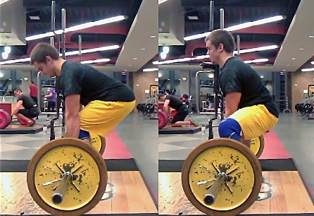 Compare the knee angle and hip angles of the conventional deadlift (left) to the sumo deadlift (right).