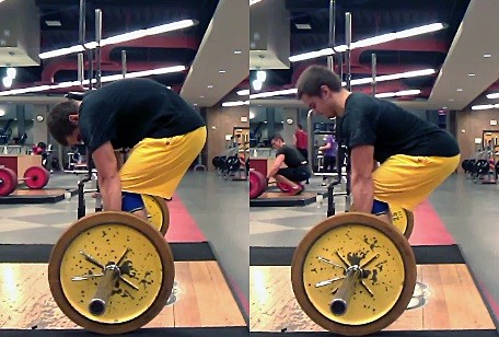 Again, compare the hip angles and knee angles of the round back deadlift (left) and the flat back deadlift (right).